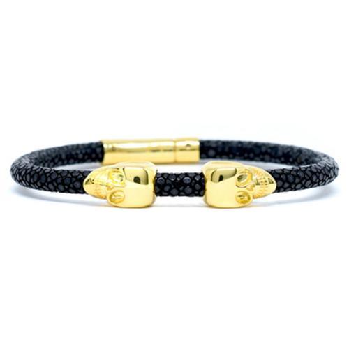 Bracelet | 2 Skulls | Black/Gold