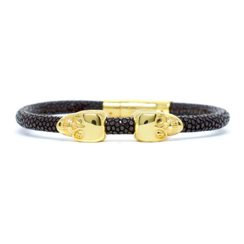 Skull Bracelet | Brown | 2 Gold Skulls | Double Bone