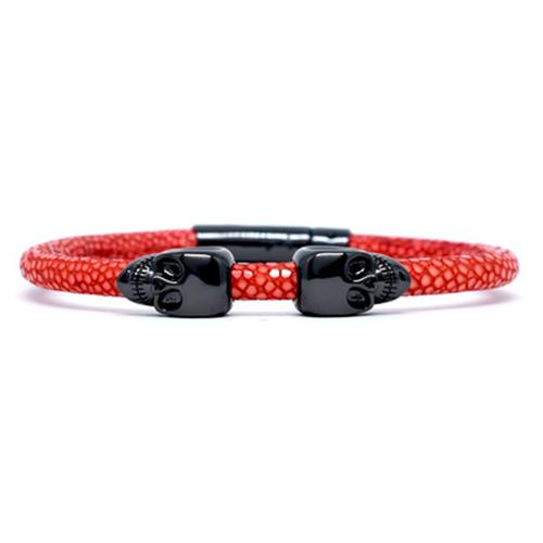 Bracelet | 2 Skulls | Red/Black