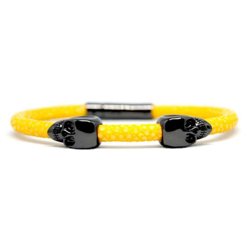 Bracelet | 2 Skulls | Yellow/Black