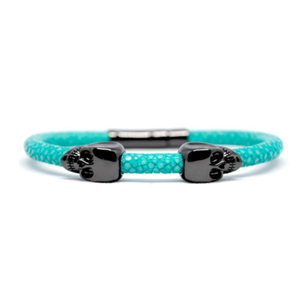 Skull Bracelet | Turquoise | 2 Black Skulls | Double Bone