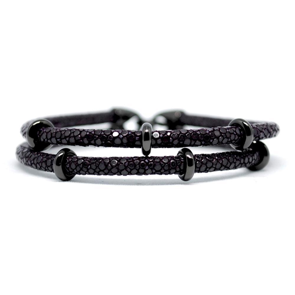 Double Stingray Bracelet | Purple & Black | Double Bone