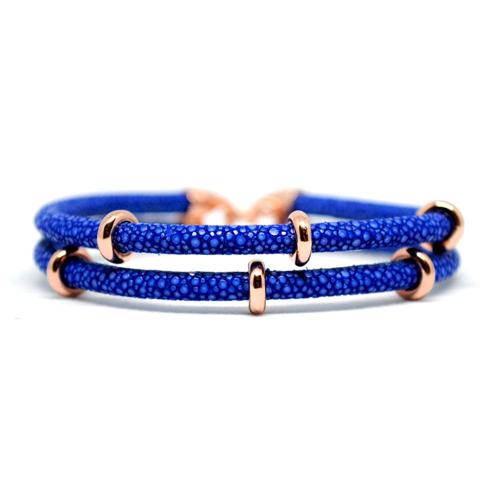 Double Stingray Bracelet | Blue & Rose Gold | Double Bone