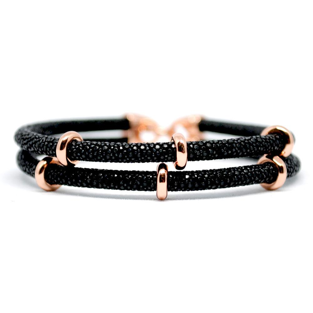 Double Stingray Bracelet | Black & Rose Gold | Double Bone
