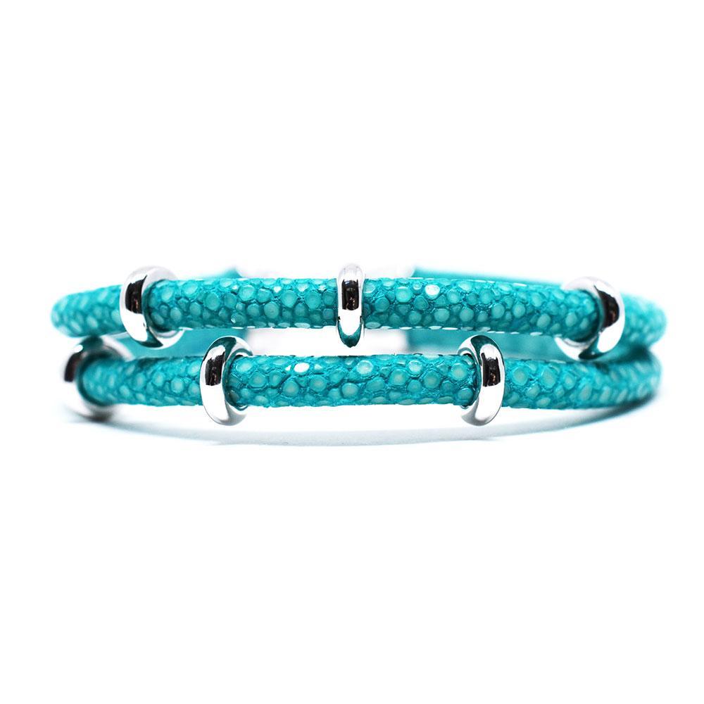 Double Stingray Bracelet   Turquoise & Silver   Double Bone