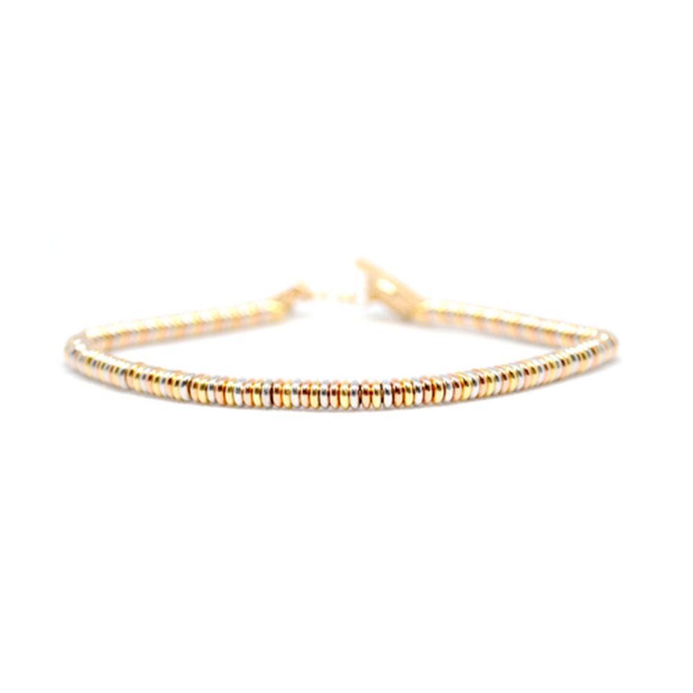 Single Beaded Bracelet   White/Rose/Gold Beads   Double Bone