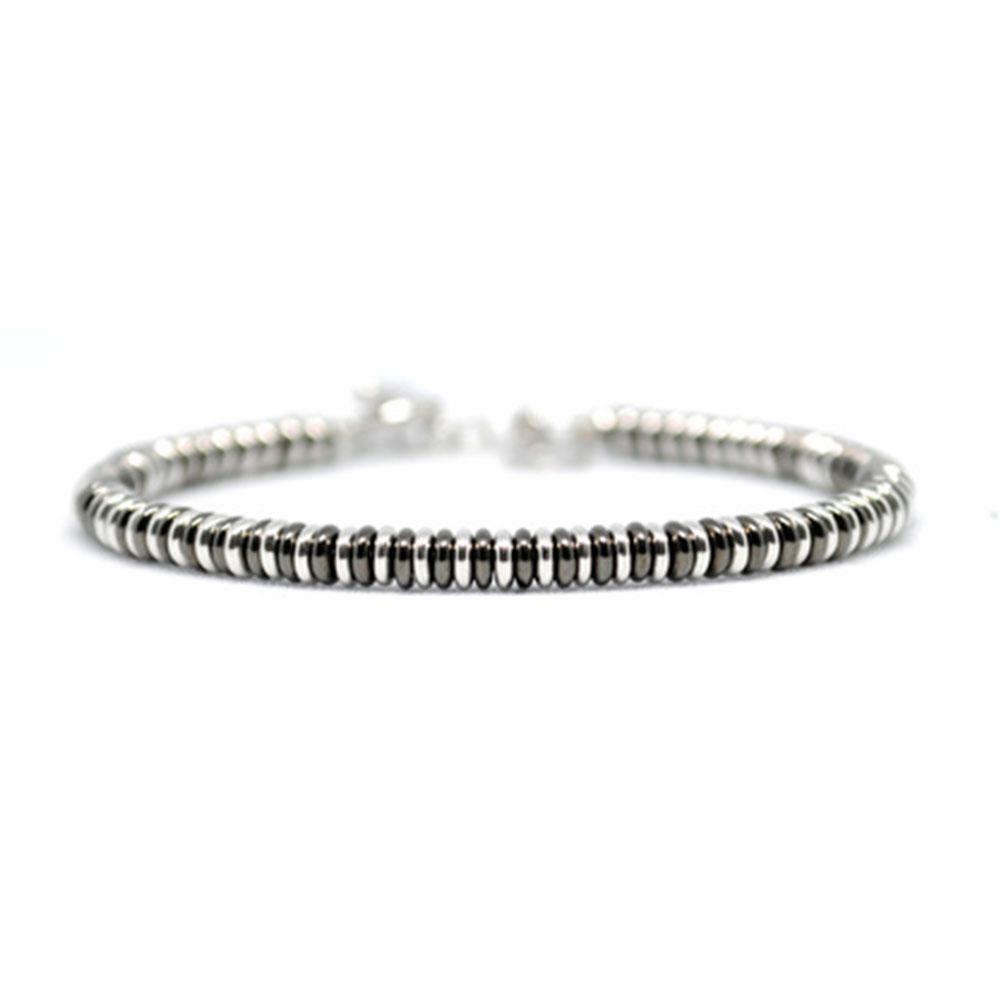 Single Beaded Bracelet   Black & White Gold   Double Bone