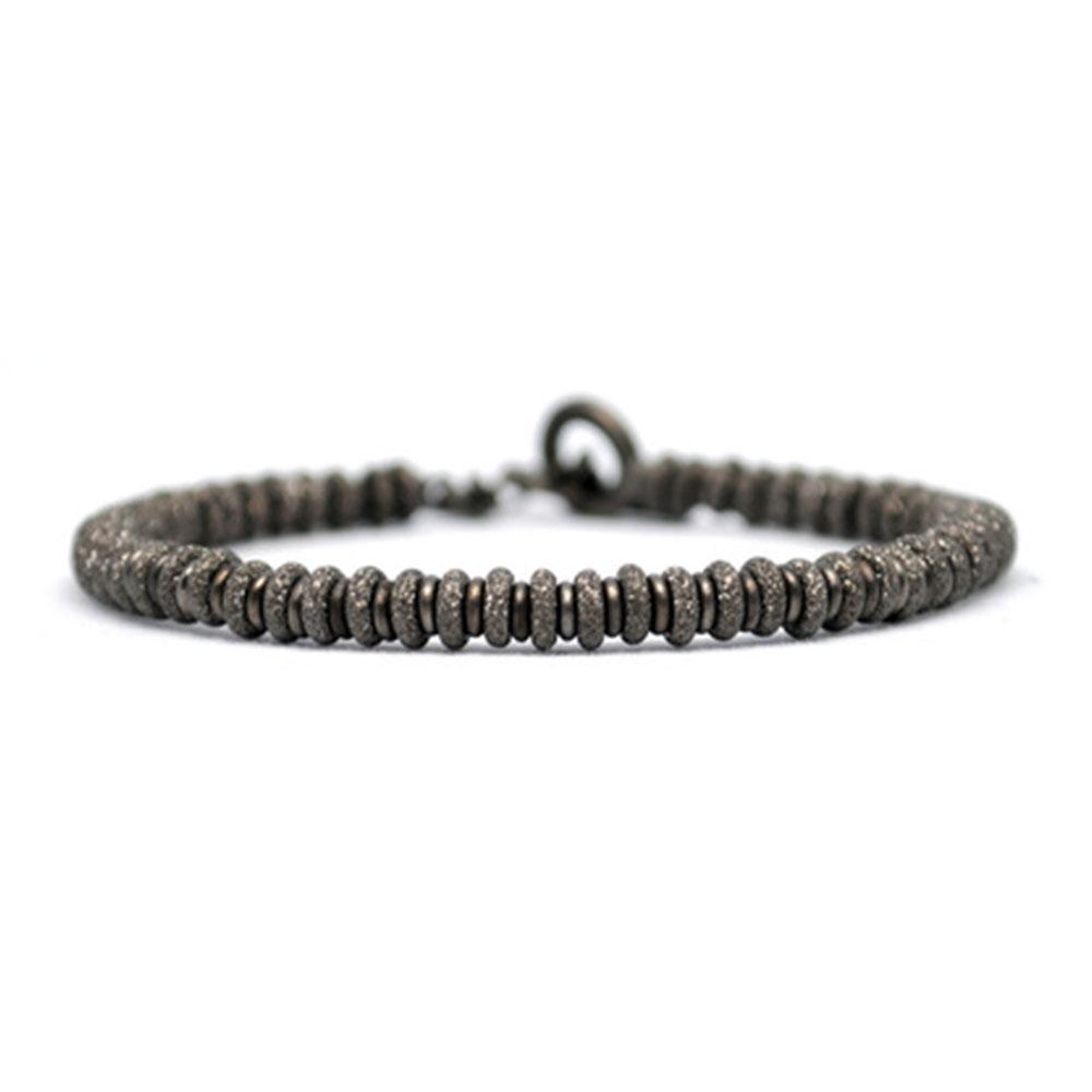 Medium Beaded Bracelet | Black Beads | Double Bone