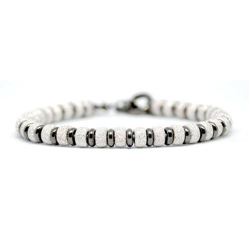 Bracelet | Multi Beads | White Gold/Black