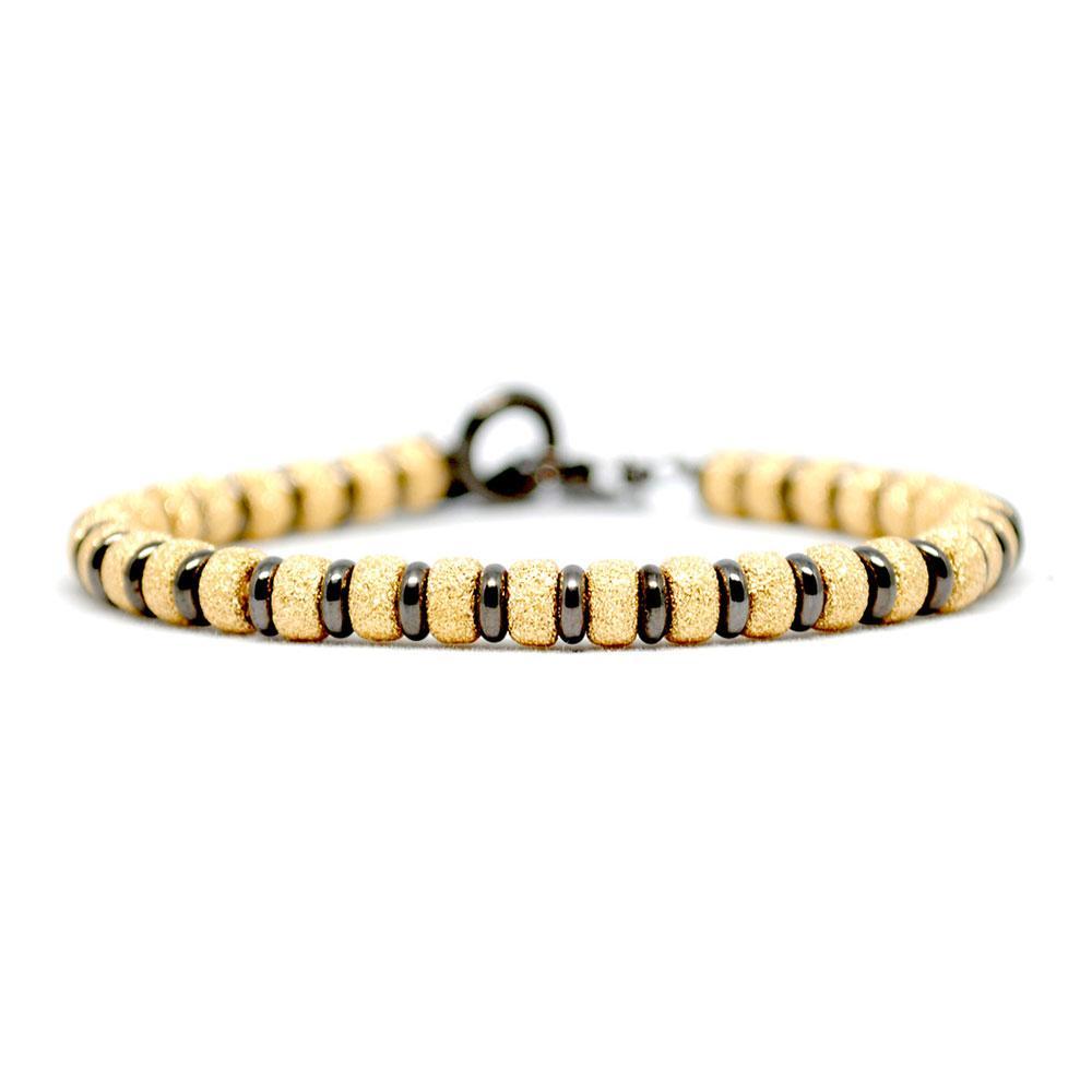 Multi Beaded Bracelet | Gold & Black Beads | Double Bone