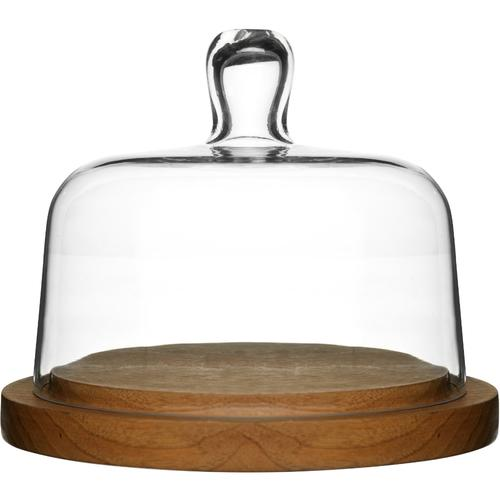 Glass Cheese Dome | Oak Base