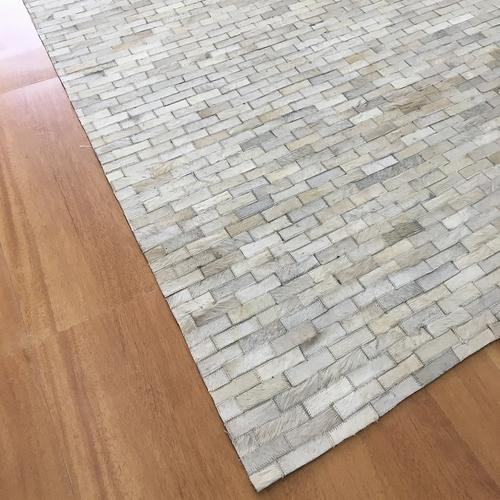 Handmade Leather Ivory Rug
