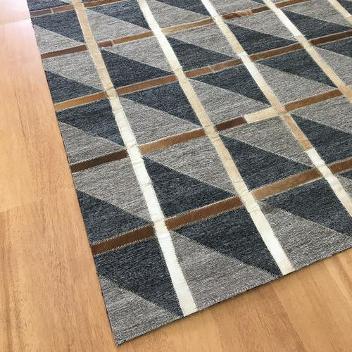 Leather Brown Charcoal Rug