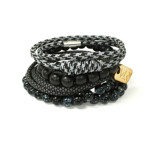 Variety Bracelet Set | Black and Charcoal