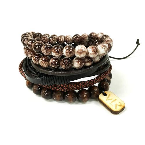 Variety Bracelet Set | Brown/White and Black