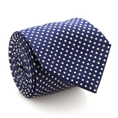 Necktie | Navy Blue with White Polka Dots