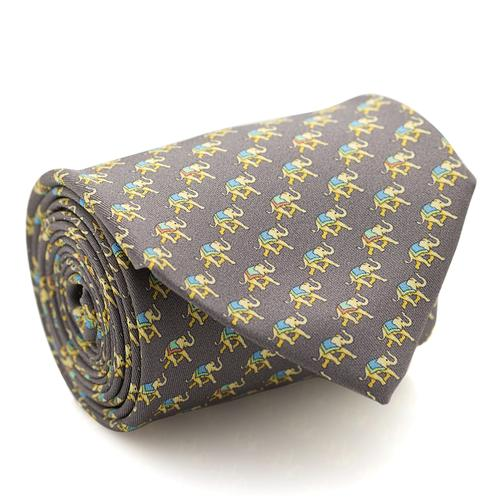 Necktie | Dark Grey with Elephant Pattern