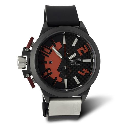 Welder K35-2501 Oversize Chronograph Watch with Red Accents