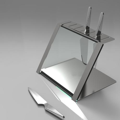 Katana Glass & Steel Knife Holder