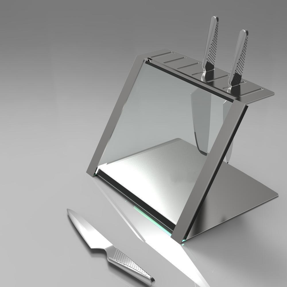 Katana Modern Glass and Steel Knife Holder | Decorpro