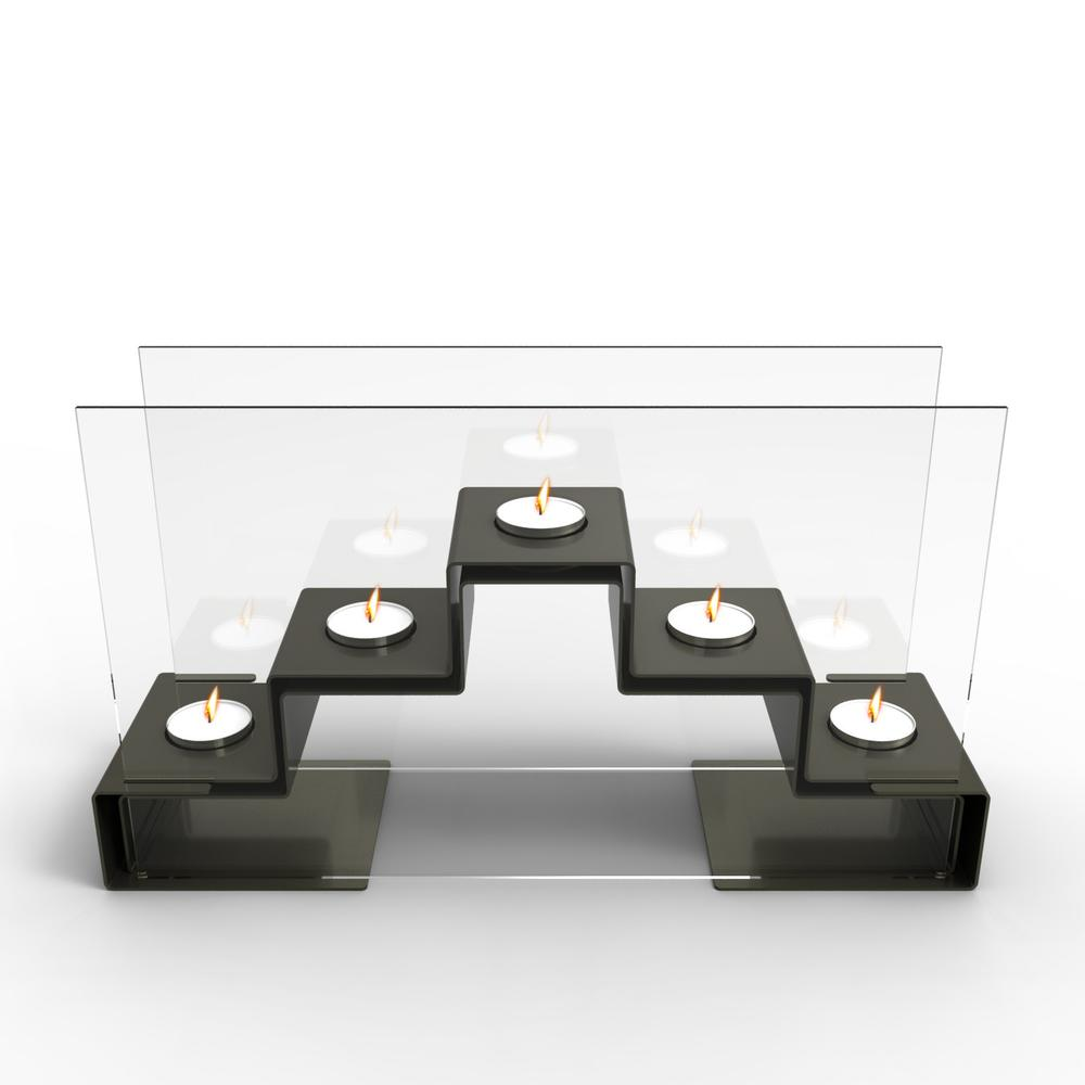Pyramid Tea Light Holder In Gunmetal Grey | Decorpro