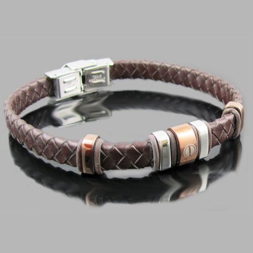 Brown Leather Stainless Steel Lazer Screw Bead Bracelet