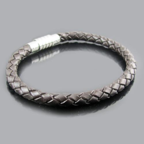 Brown Leather Stainless Steel Basic Bracelet