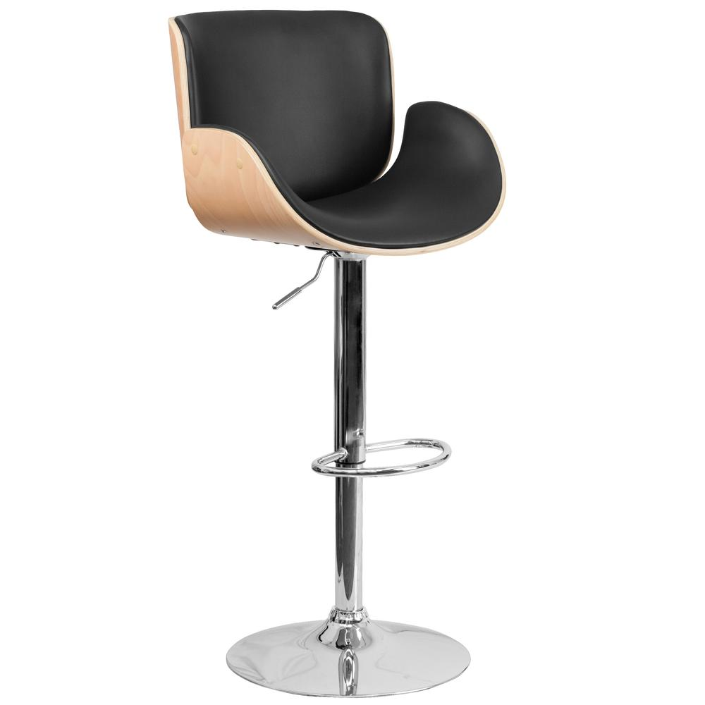 Height Barstool With Curved Black Vinyl Flash Furnitur