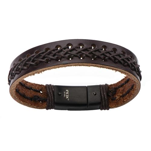 Men's Dark Brown Leather Bracelet