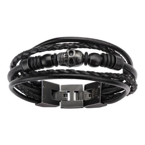Black Leather & Black Skull Beads Bracelet
