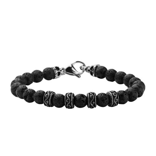 Stainless Steel Skull & Black Lava Beads Bracelet
