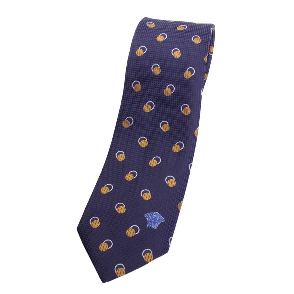 versace silk tie blue