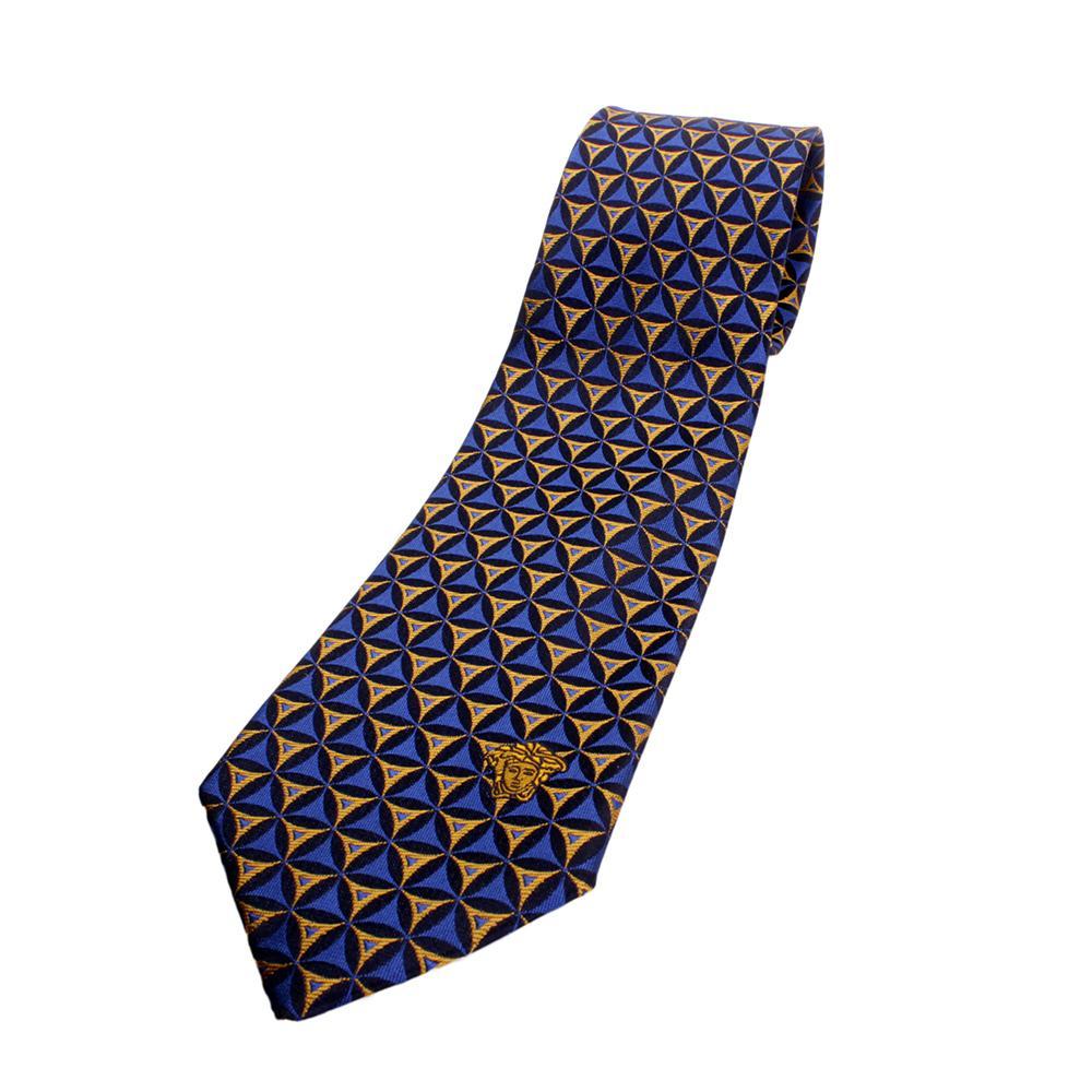 versace silk tie blueyellow