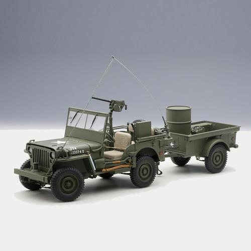 Jeep Willys, Army Green with Trailer
