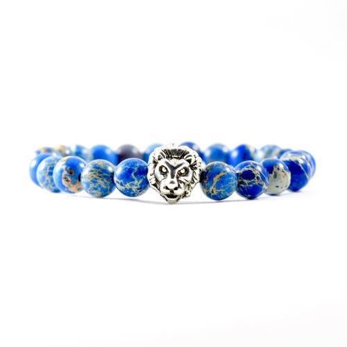 Deep Sea Jasper   Silver Lion Bracelet