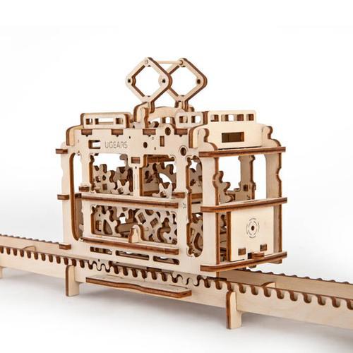 Tram on rails